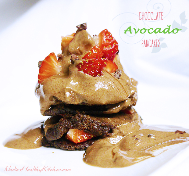 clean eating chocolate avocado pancakes