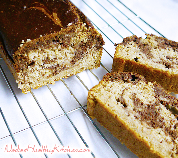 clean eating banana chocolate marble bread