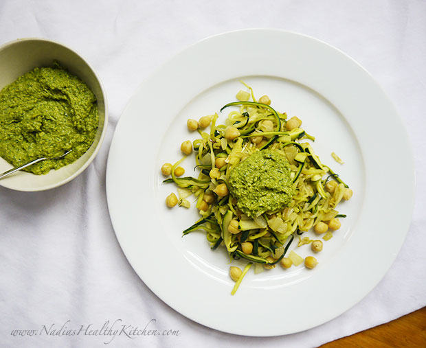 zoodles with basil and spinach pesto