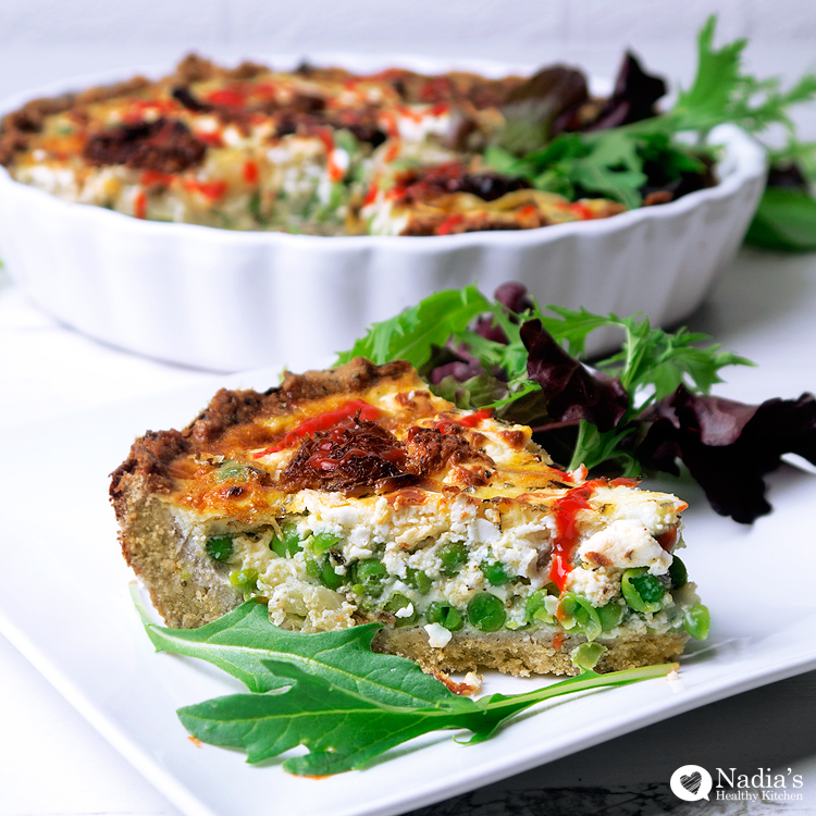 Pea Caramelised Onion And Feta Quiche