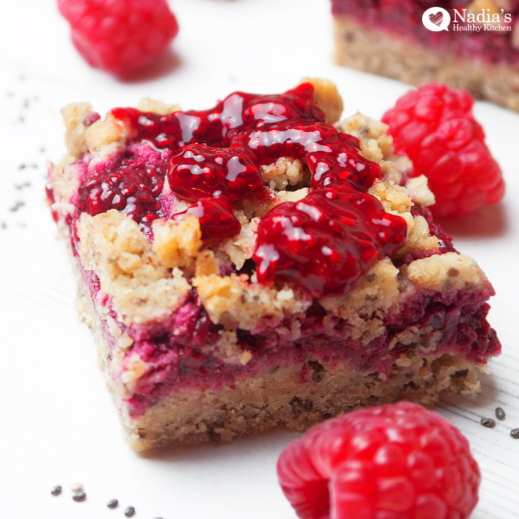 vegan raspberry chia bars
