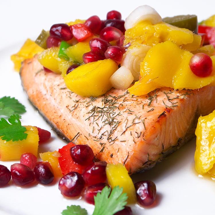 Salmon with Mango and Pomegranate Salsa