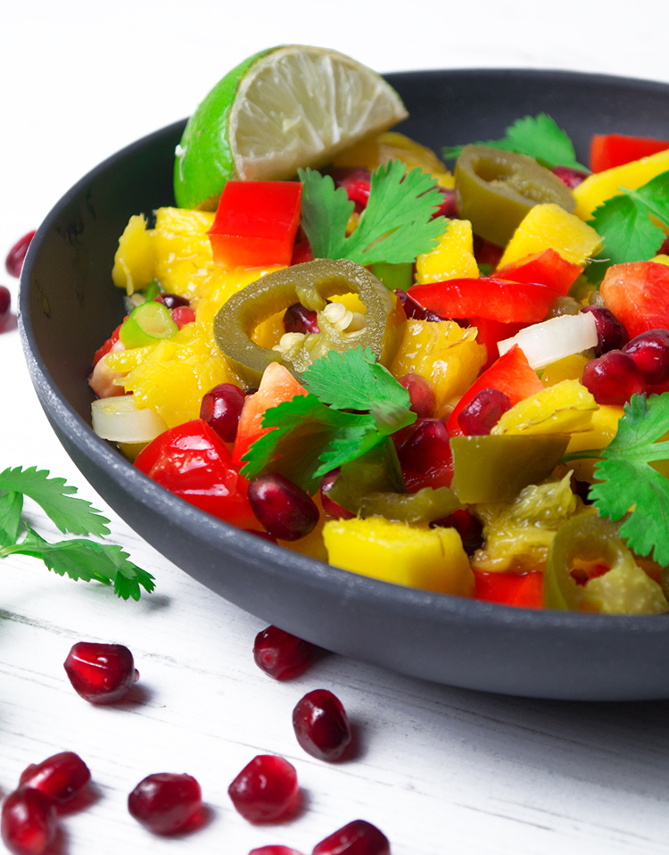 salmon with mango and pomegranate salsa