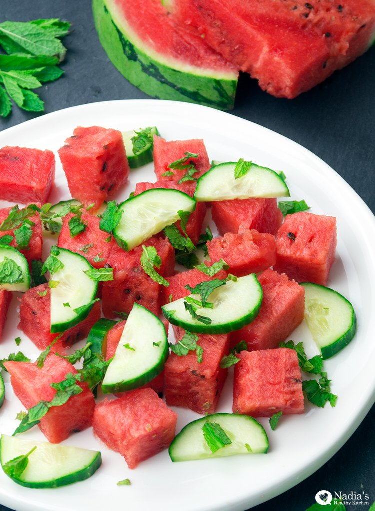 watermelon cucumber and mint salad