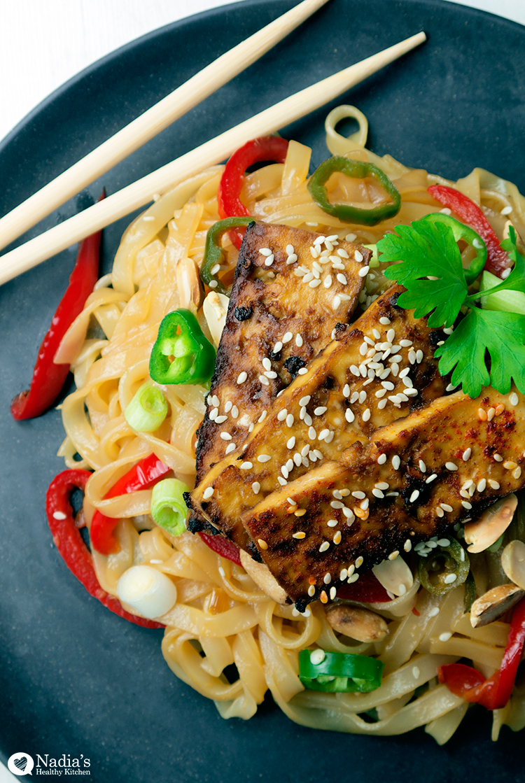 Baked Tamari & Maple Tofu with Rice Noodles
