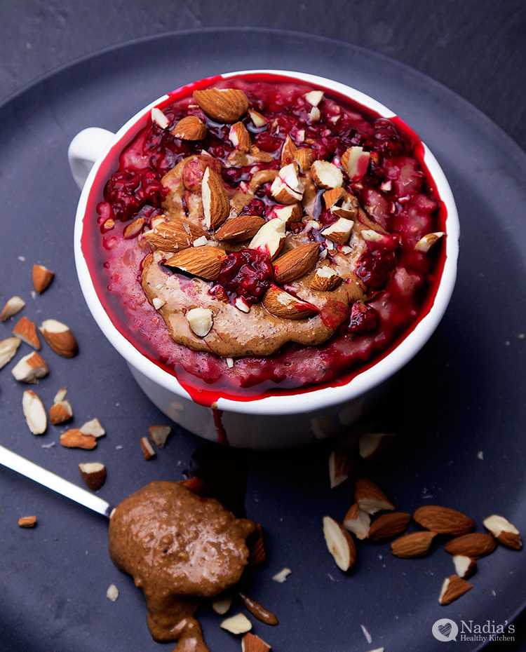 raspberry almond porridge