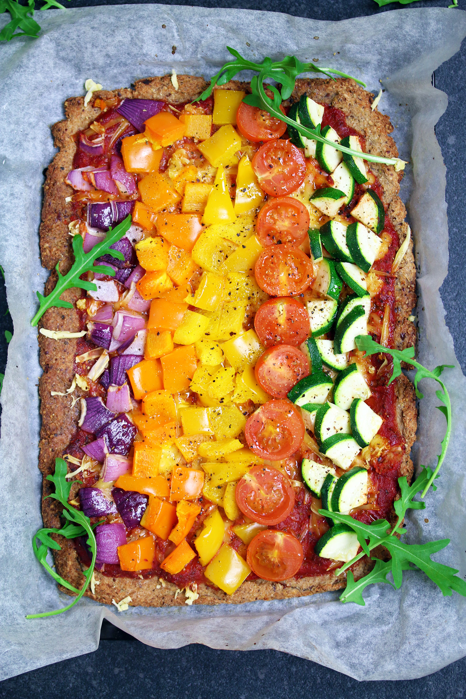Rainbow Cauliflower Pizza (Vegan & Gluten-free)