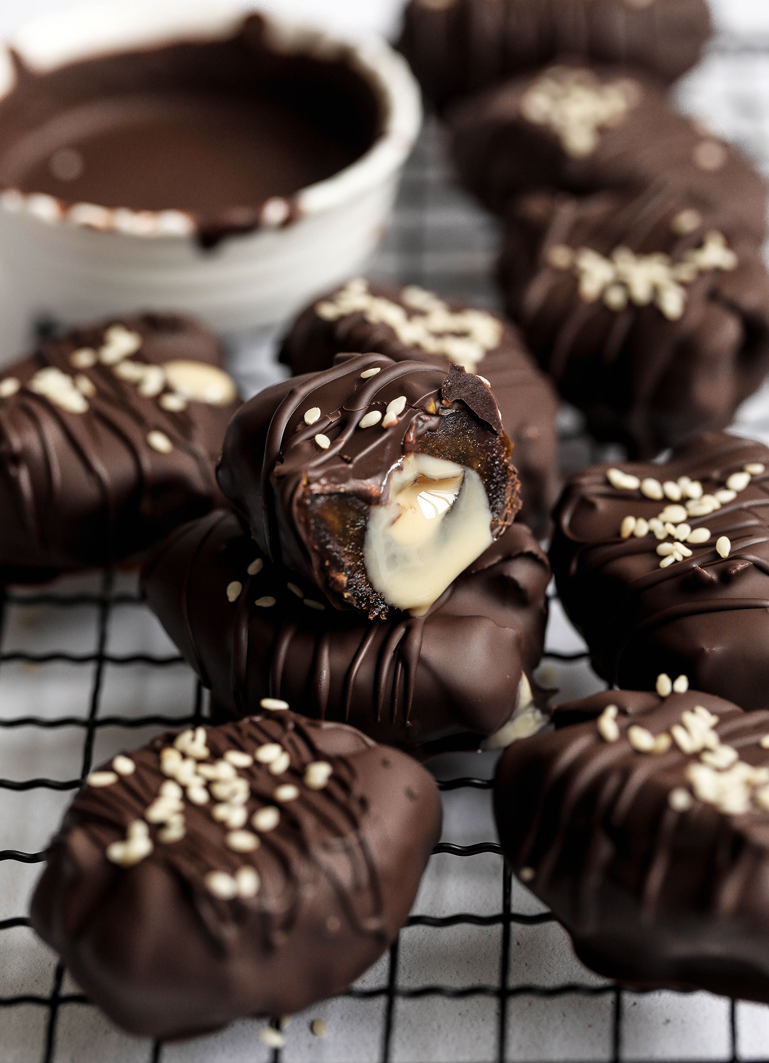Tahini Stuffed Chocolate Covered Dates