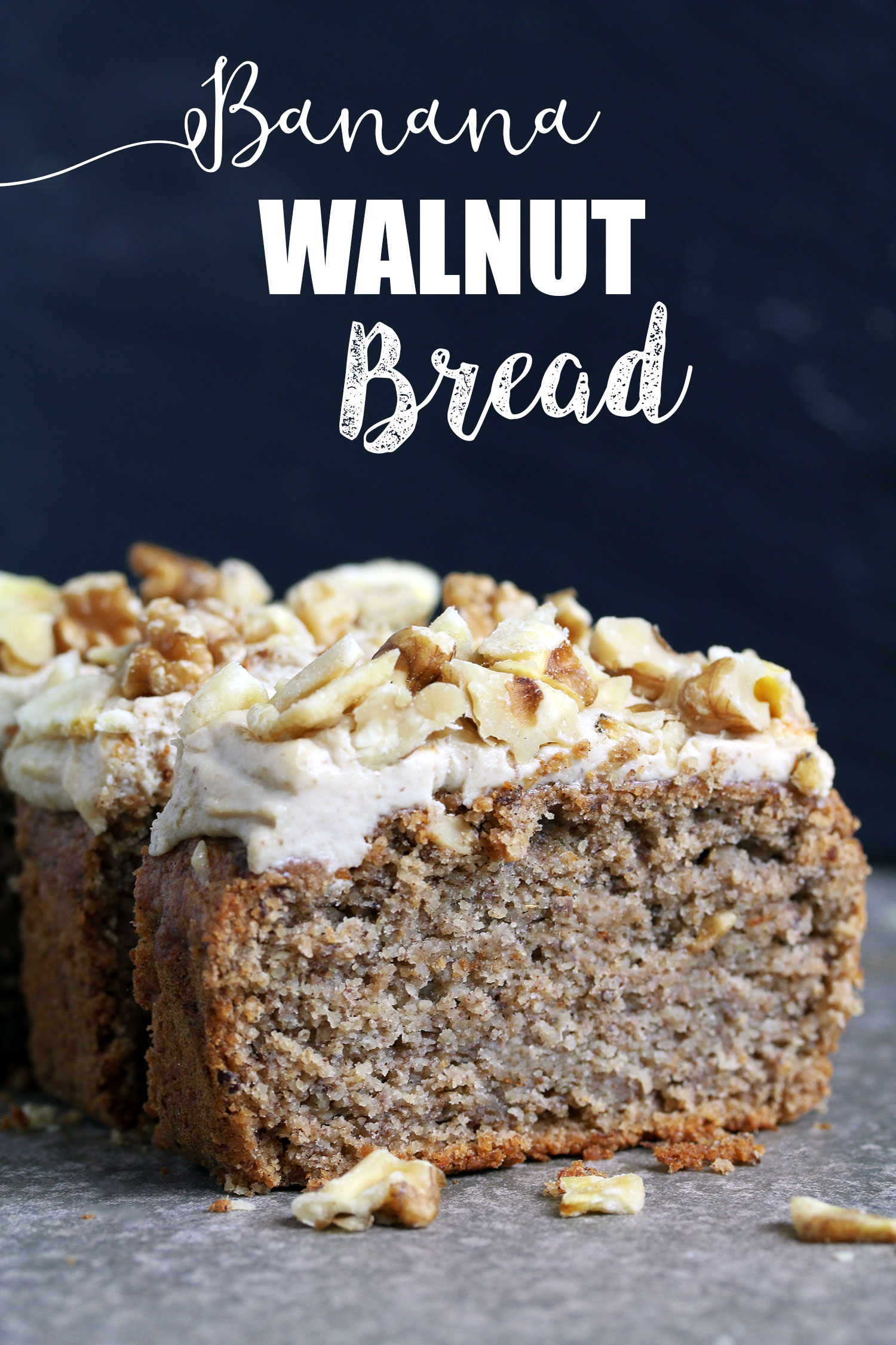 Banana Bread with Creamy Walnut Frosting - Vegan & Gluten-free