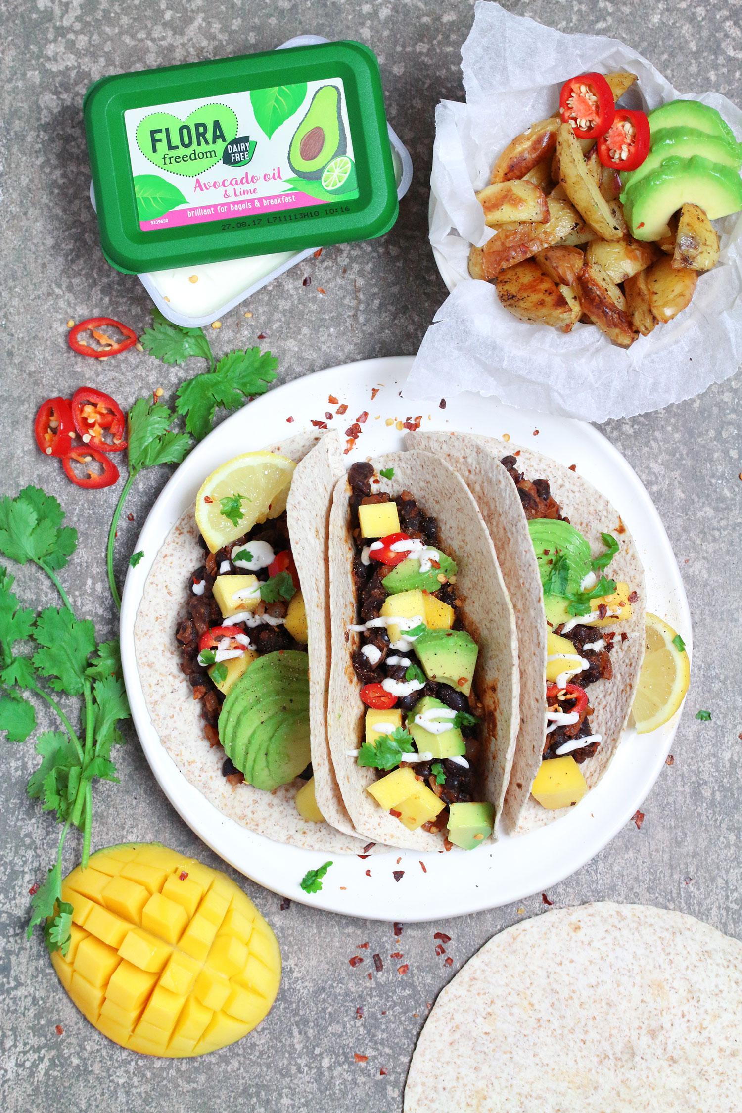 Black Bean Avocado & Mango Tacos