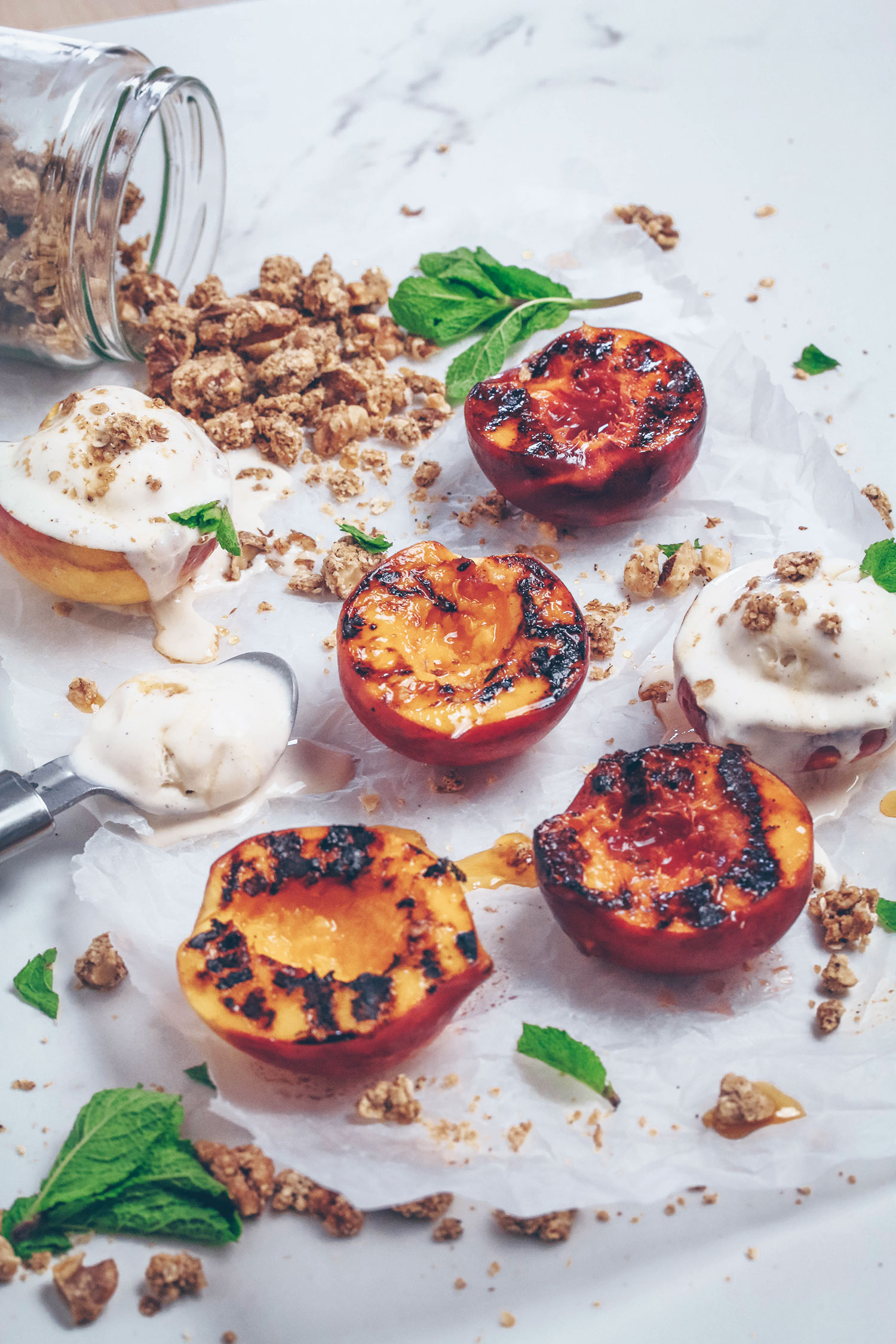 Grilled Peaches with Cinnamon Granola + Tesco Scan As You Shop Service Review