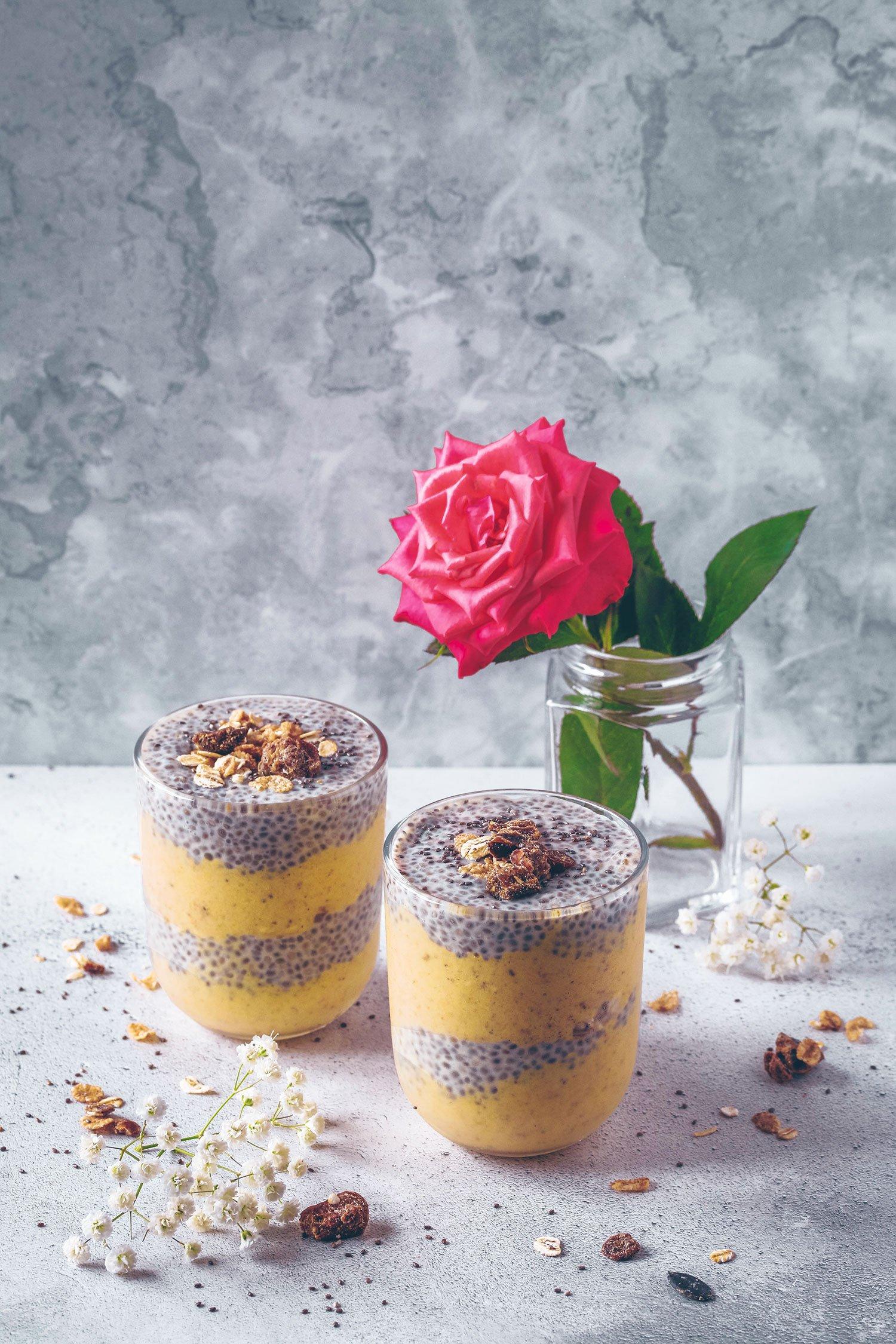 Golden Smoothie & Chia Pudding Parfait