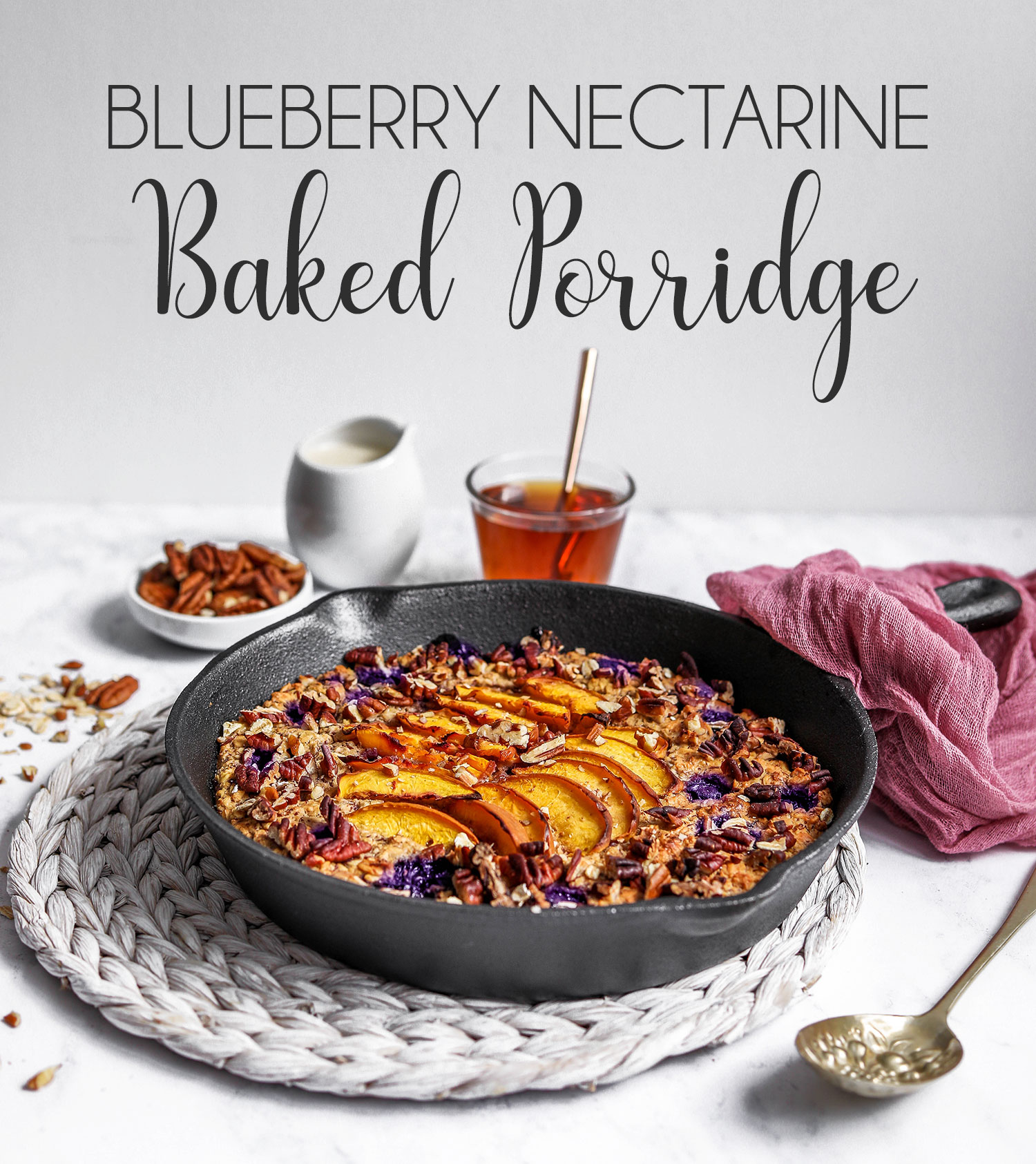 Blueberry Nectarine Baked Porridge