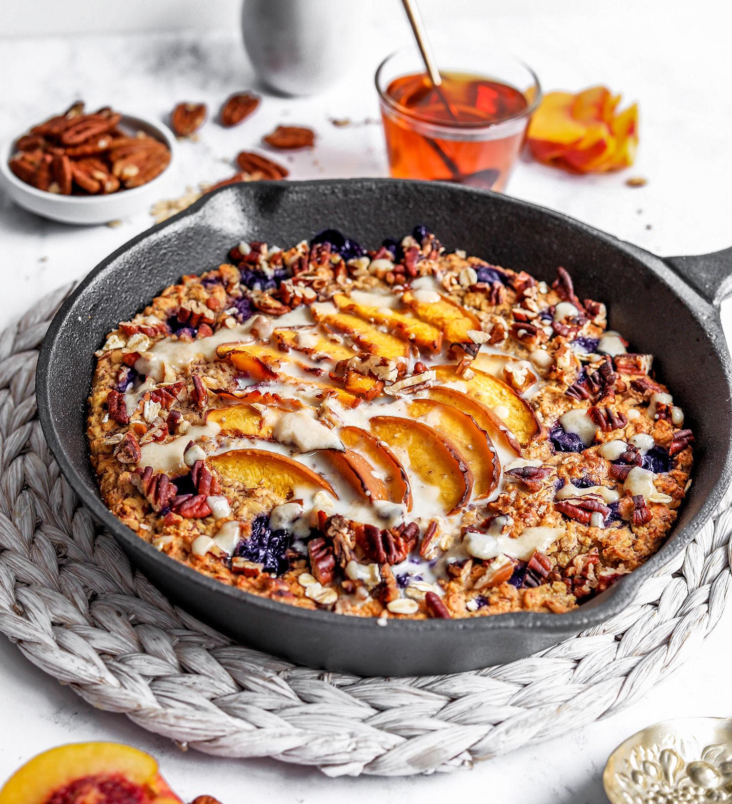Blueberry Nectarine Baked Porridge