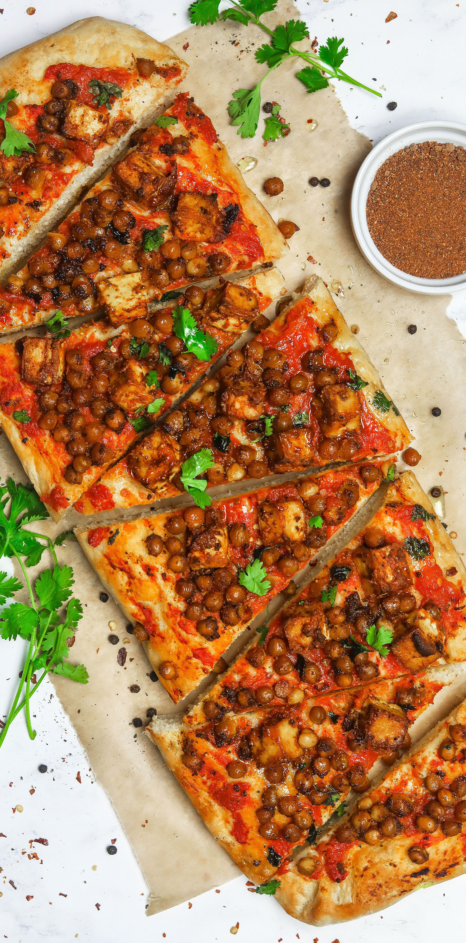 Tandoori Tofu Chickpea Pizza