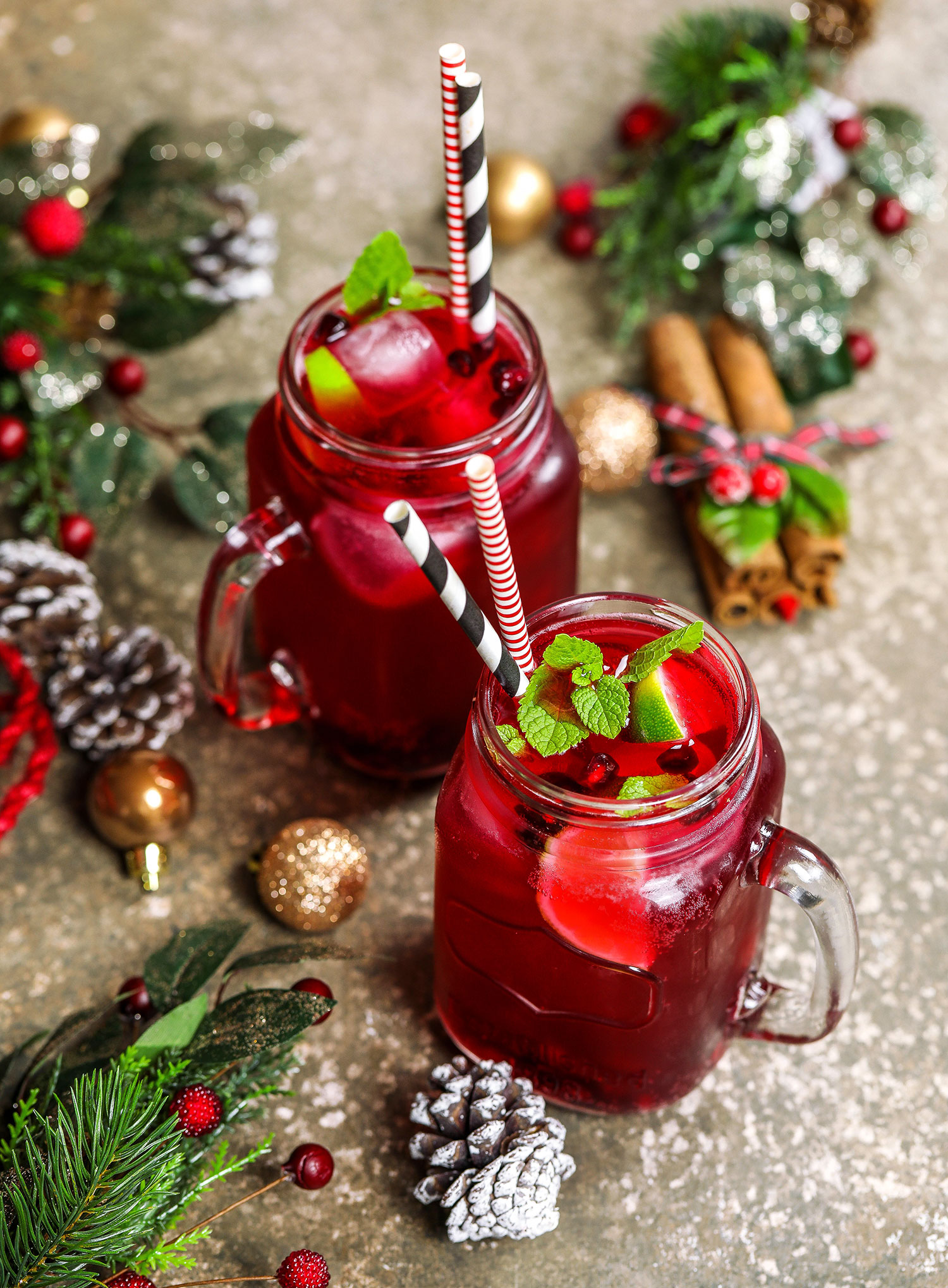 Festive Pomegranate Kombucha Mocktail