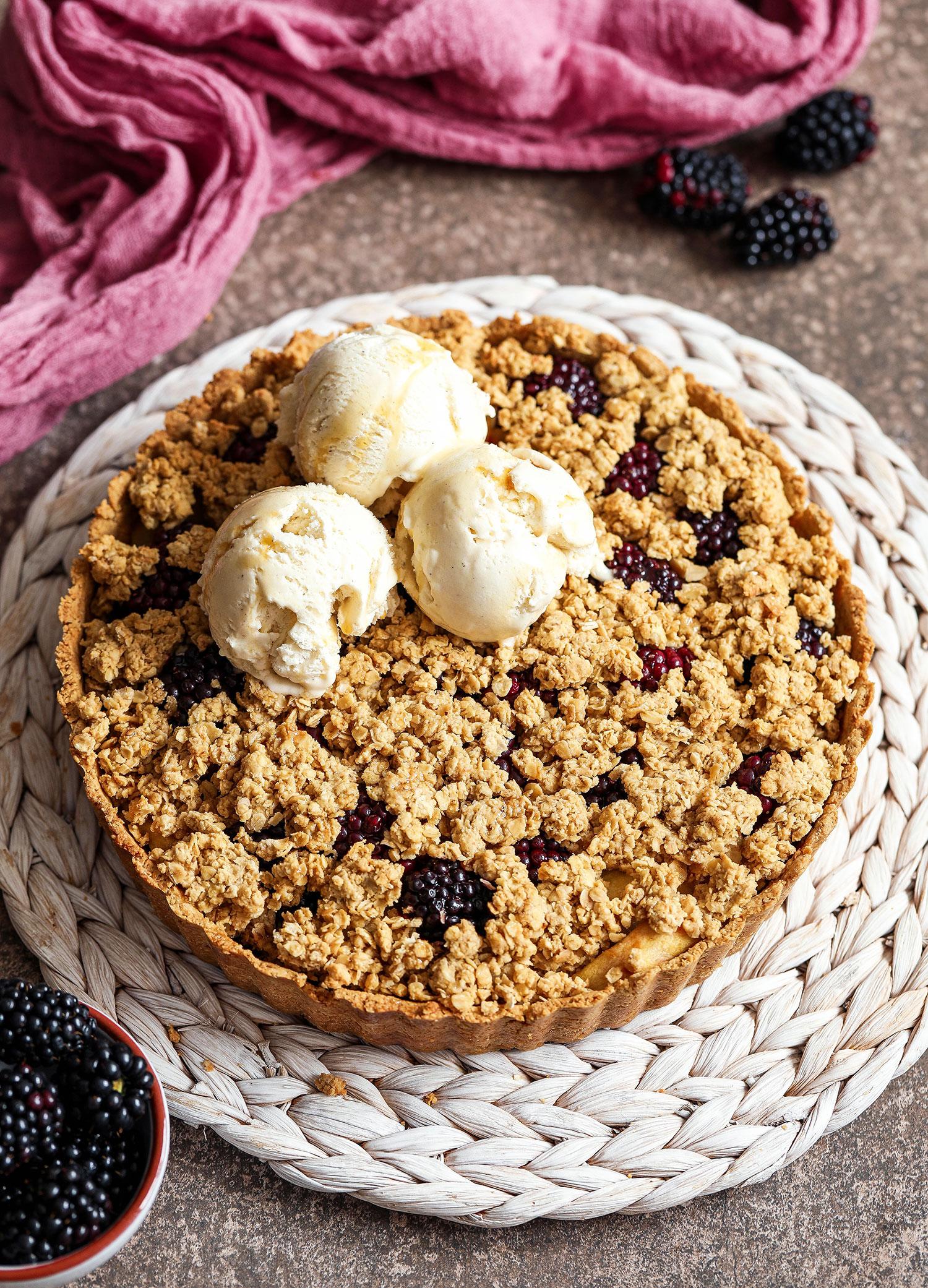 Apple Blackberry Crumble Tart (Vegan & Gluten-free)