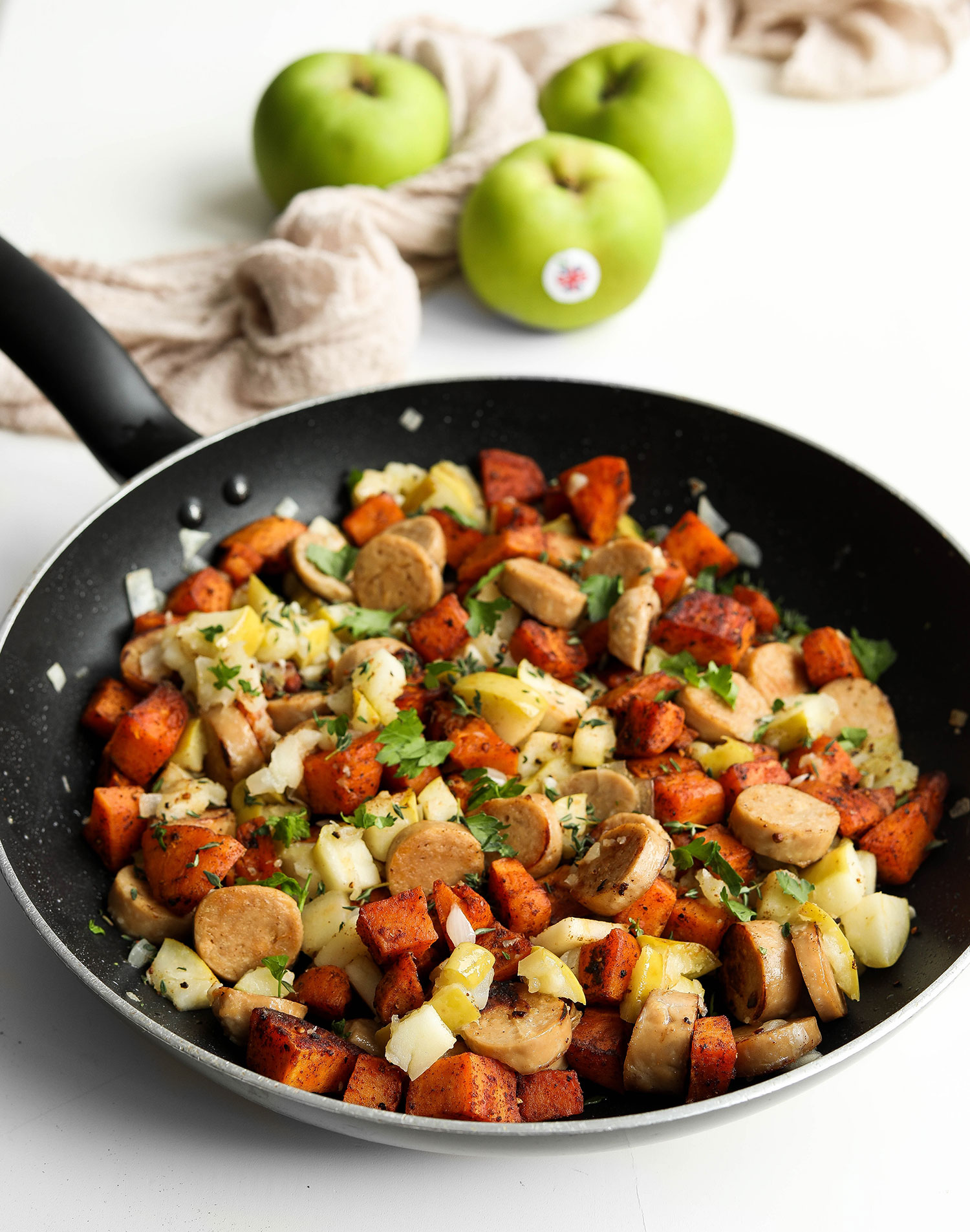 Bramley Apple Sweet Potato Sausage Hash
