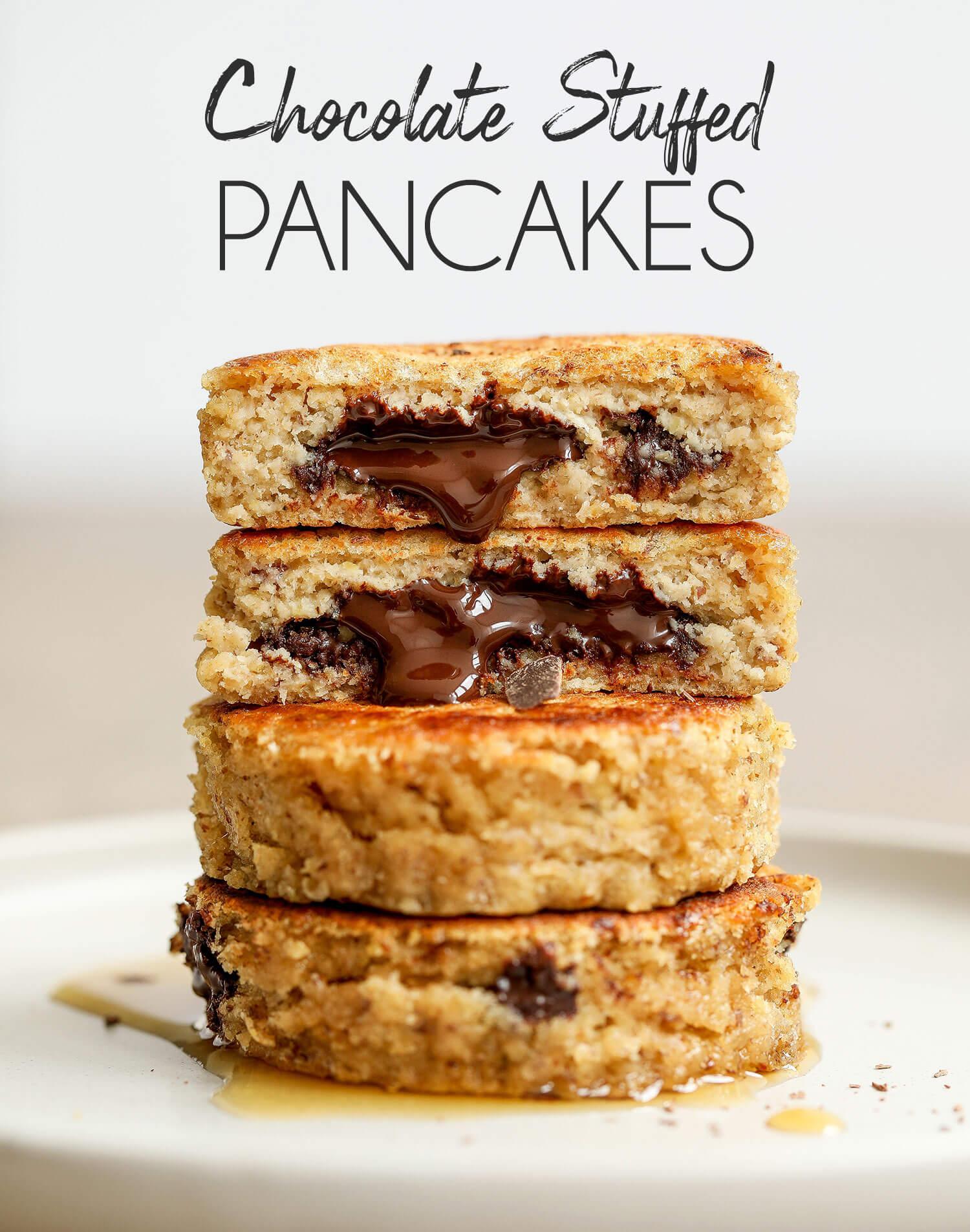 Vegan & Gluten-free Chocolate Stuffed Pancakes