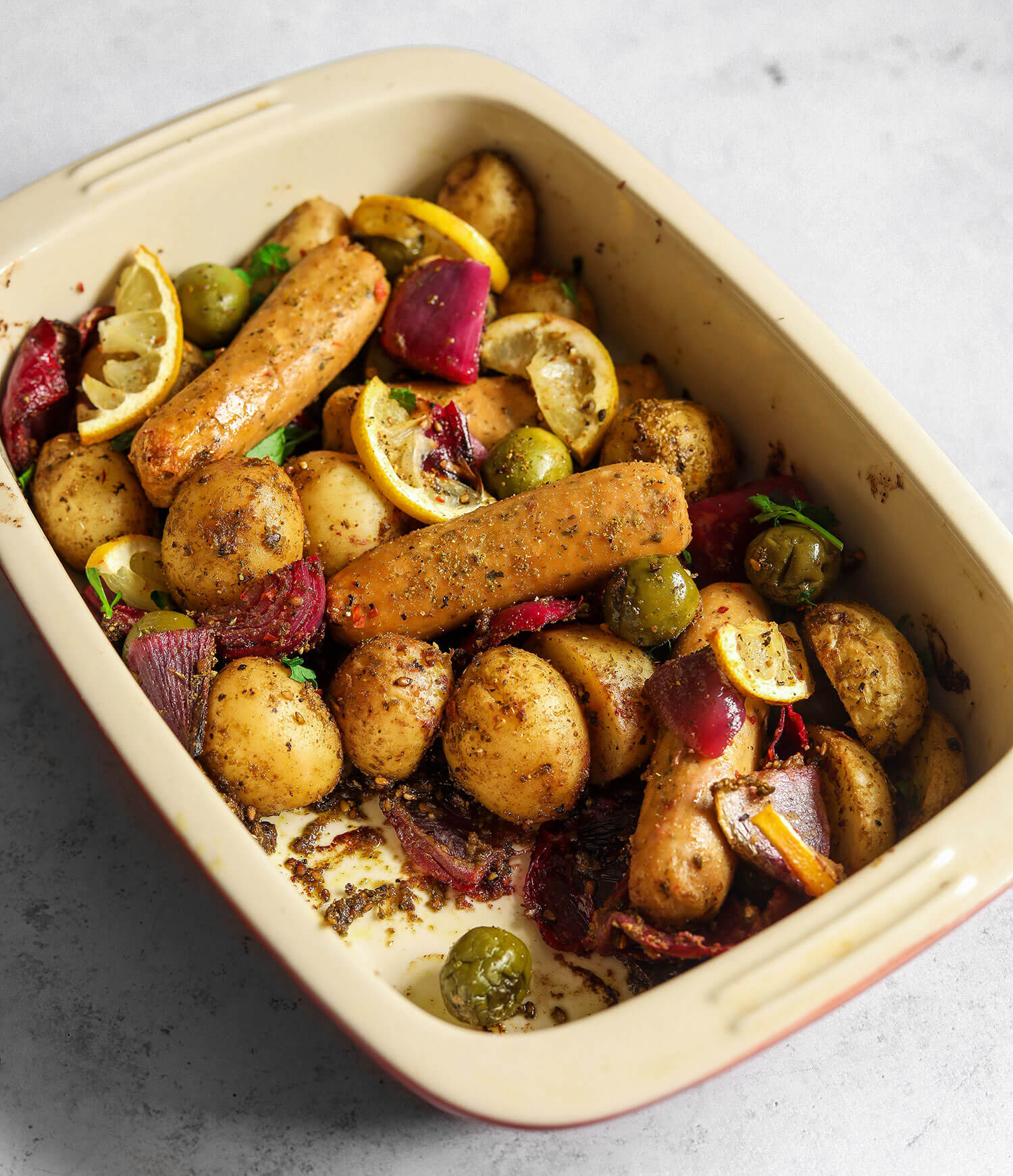 Za'atar Cornish New Potato & Sausage Bake