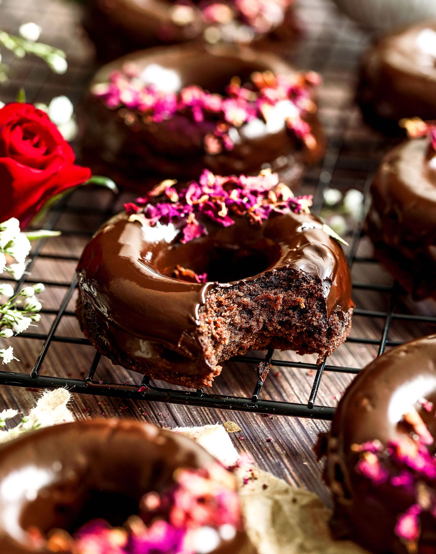 Vegan Chocolate Rose Doughnuts