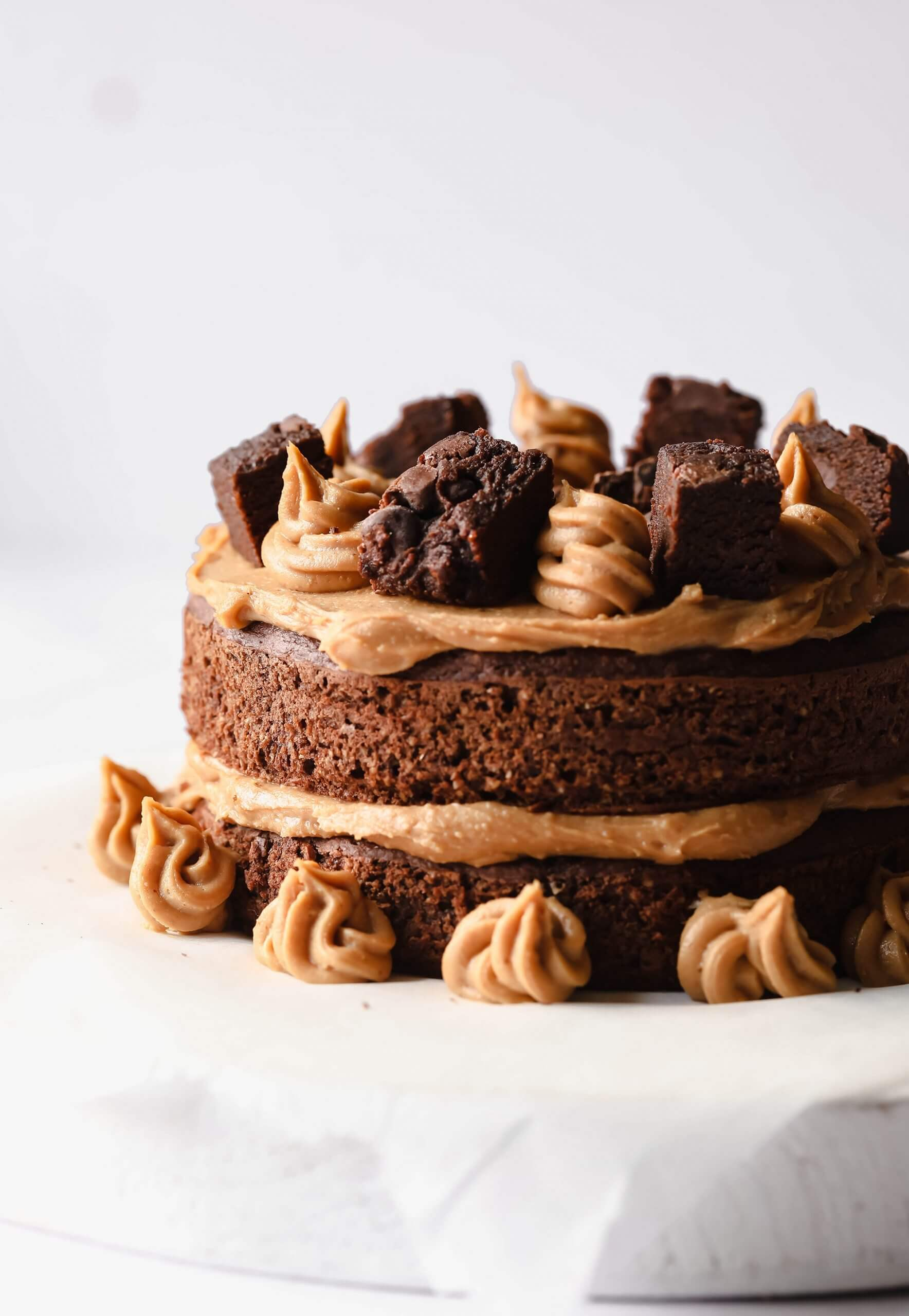 Healthier Chocolate Peanut Butter Cake